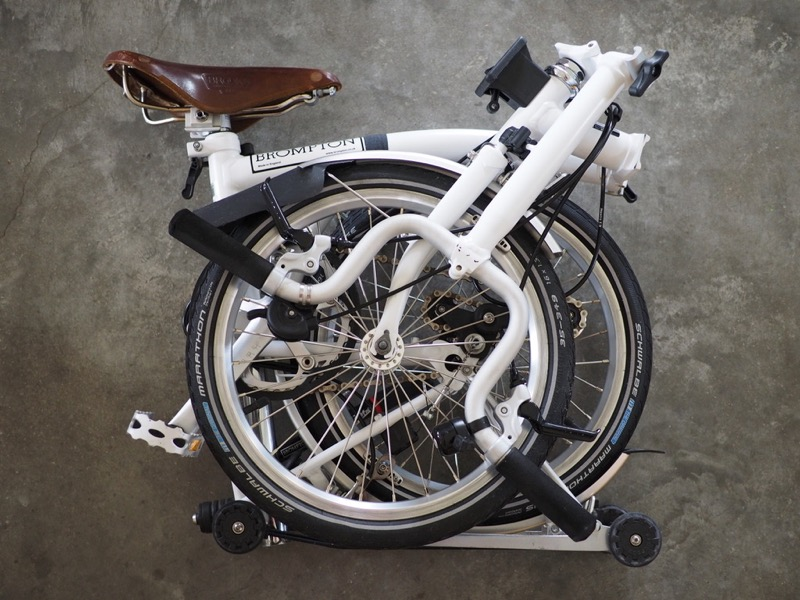 Image of folded Brompton Bicycle
